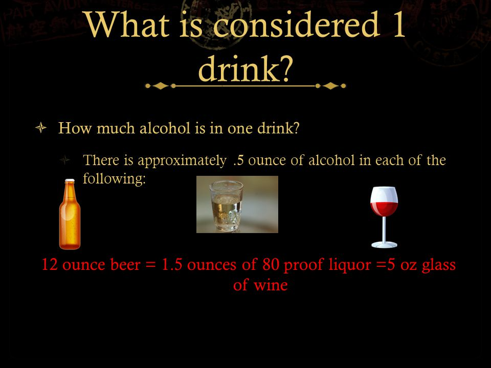What is considered 1 drink.  How much alcohol is in one drink.