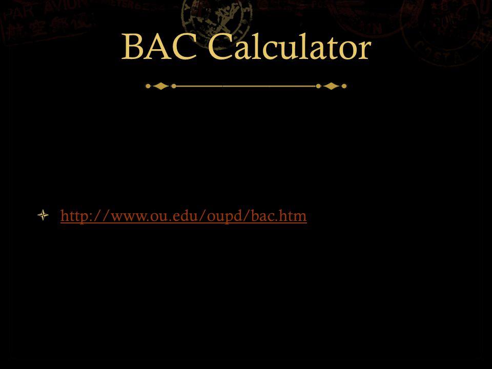 BAC Calculator  http://www.ou.edu/oupd/bac.htm http://www.ou.edu/oupd/bac.htm