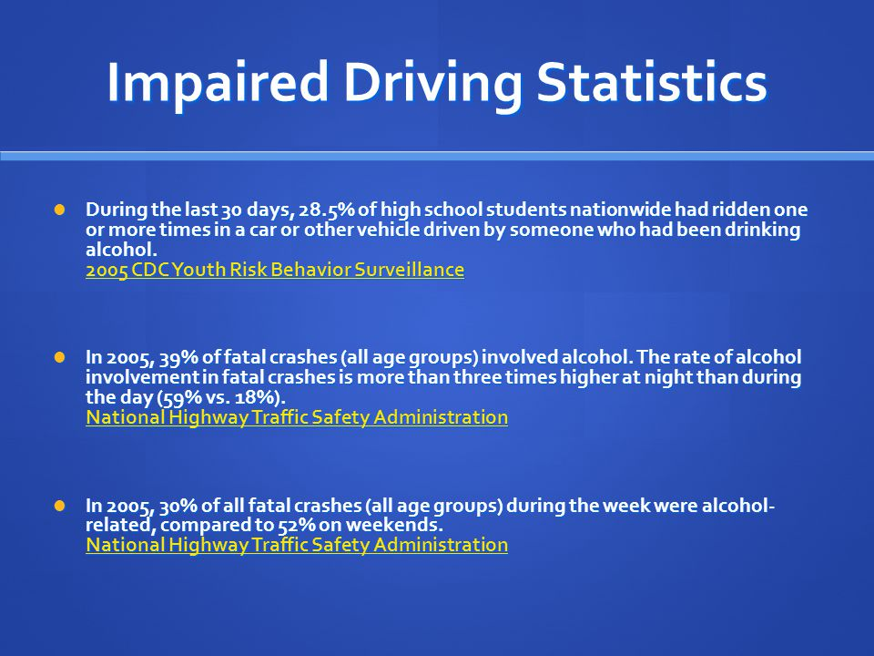 Impaired Driving Statistics During the last 30 days, 28.5% of high school students nationwide had ridden one or more times in a car or other vehicle driven by someone who had been drinking alcohol.