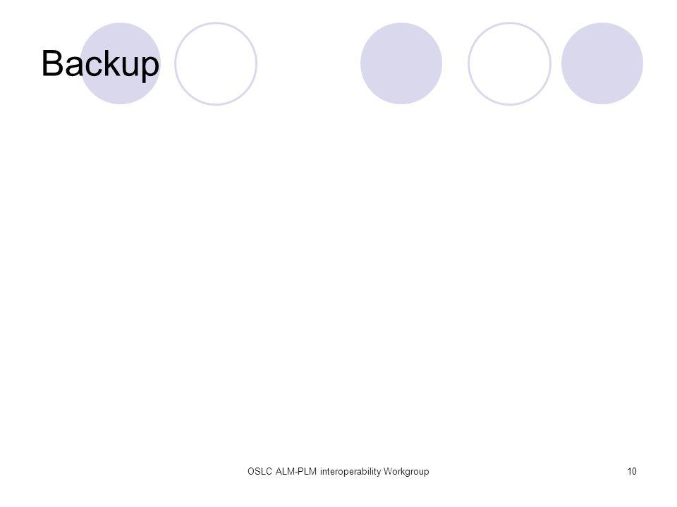 OSLC ALM-PLM interoperability Workgroup10 Backup