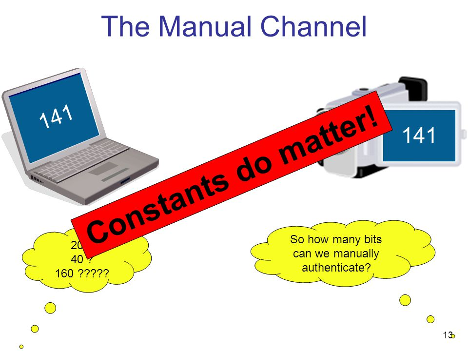 13 The Manual Channel 141 So how many bits can we manually authenticate.