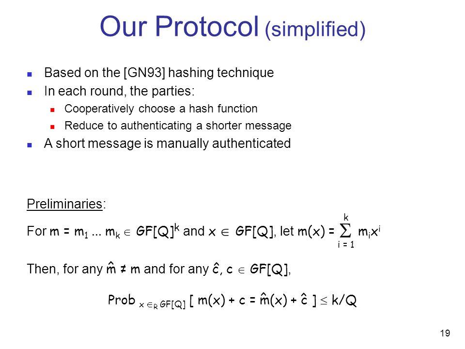 19 Preliminaries: For m = m 1...