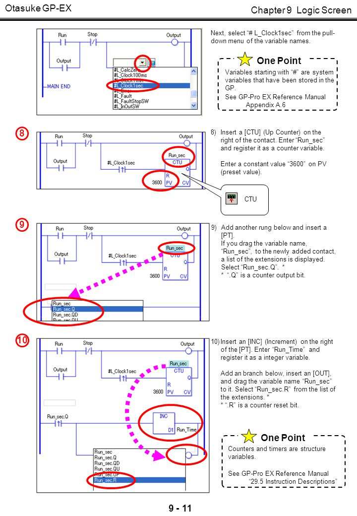 """Chapter 9 Logic Screen Otasuke GP-EX 9 - 11 8 8)Insert a [CTU] (Up Counter) on the right of the contact. Enter """"Run_sec"""" and register it as a counter"""