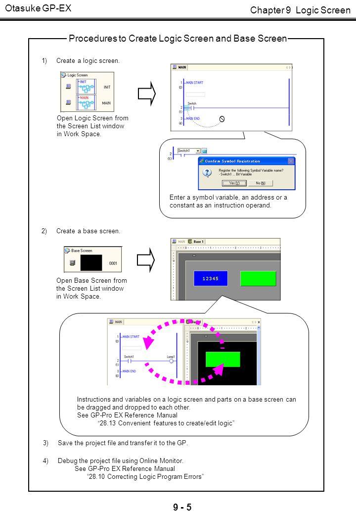 Chapter 9 Logic Screen Otasuke GP-EX 9 - 5 1) Create a logic screen. 2) Create a base screen. 3)Save the project file and transfer it to the GP. Proce