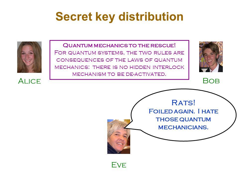 Alice Bob Secret key distribution Quantum mechanics to the rescue.