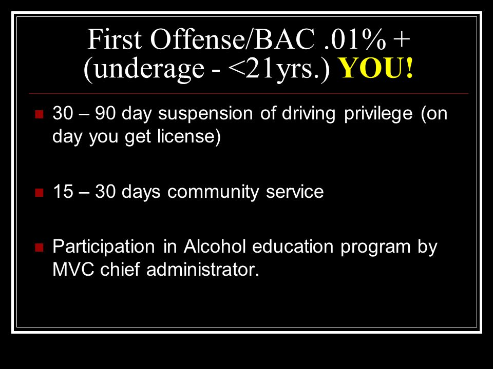 Zero Tolerance Law states….. No one under age 21 is allowed to consume alcohol, period.
