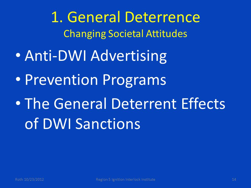 1. General Deterrence Changing Societal Attitudes Anti-DWI Advertising Prevention Programs The General Deterrent Effects of DWI Sanctions Roth 10/23/2