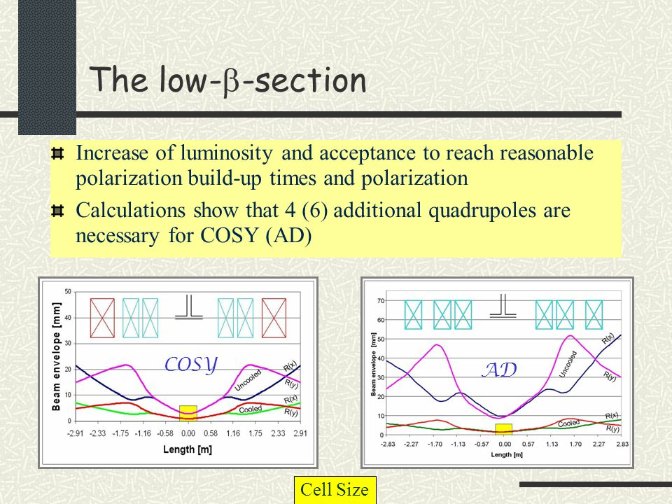 The low-  -section Increase of luminosity and acceptance to reach reasonable polarization build-up times and polarization Calculations show that 4 (6) additional quadrupoles are necessary for COSY (AD) COSY AD Cell Size