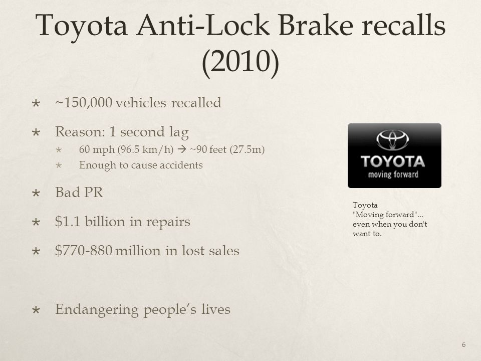 Toyota Anti-Lock Brake recalls (2010)  ~150,000 vehicles recalled  Reason: 1 second lag  60 mph (96.5 km/h)  ~90 feet (27.5m)  Enough to cause accidents  Bad PR  $1.1 billion in repairs  $770-880 million in lost sales  Endangering people's lives 6 Toyota Moving forward ...