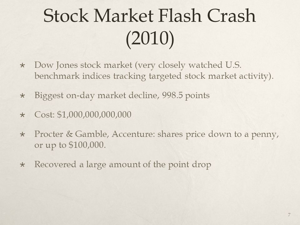 Stock Market Flash Crash (2010)  Dow Jones stock market (very closely watched U.S.