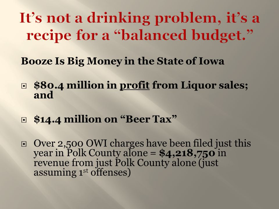 "Booze Is Big Money in the State of Iowa  $80.4 million in profit from Liquor sales; and  $14.4 million on ""Beer Tax""  Over 2,500 OWI charges have b"