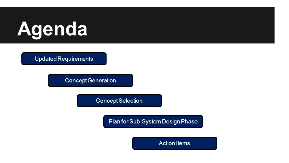 Agenda Updated Requirements Concept Generation Concept Selection Plan for Sub-System Design Phase Action Items