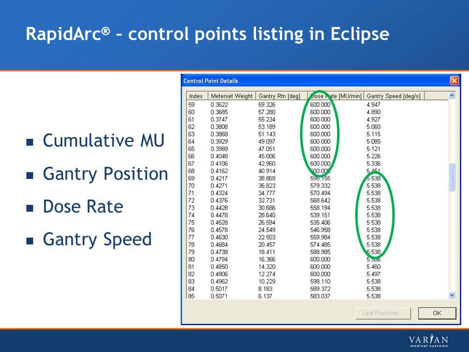 RapidArc ® – control points listing in Eclipse Cumulative MU Gantry Position Dose Rate Gantry Speed