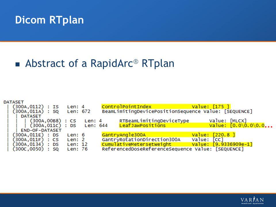 Dicom RTplan Abstract of a RapidArc ® RTplan