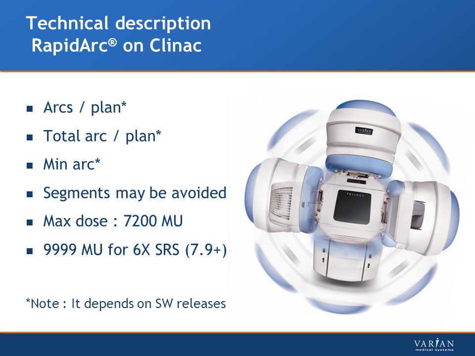 Technical description RapidArc ® on Clinac Arcs / plan* Total arc / plan* Min arc* Segments may be avoided Max dose : 7200 MU 9999 MU for 6X SRS (7.9+) *Note : It depends on SW releases