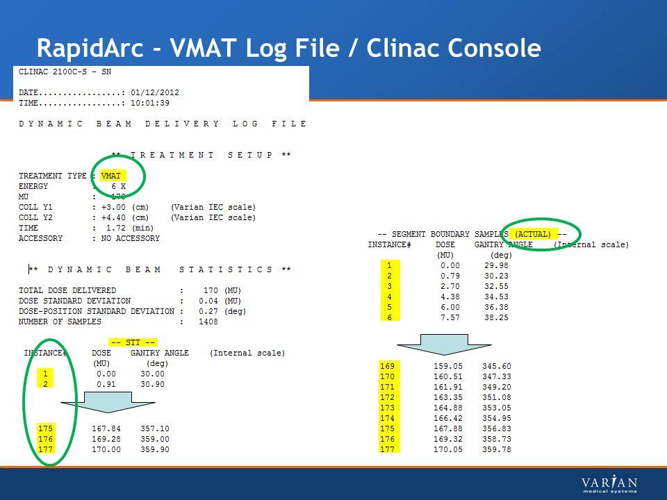 RapidArc - VMAT Log File / Clinac Console