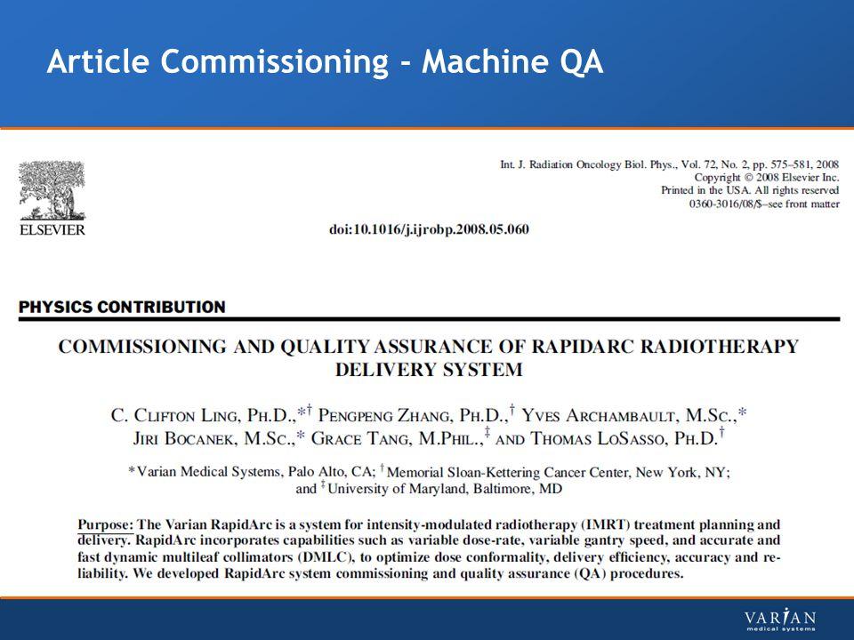 Article Commissioning - Machine QA