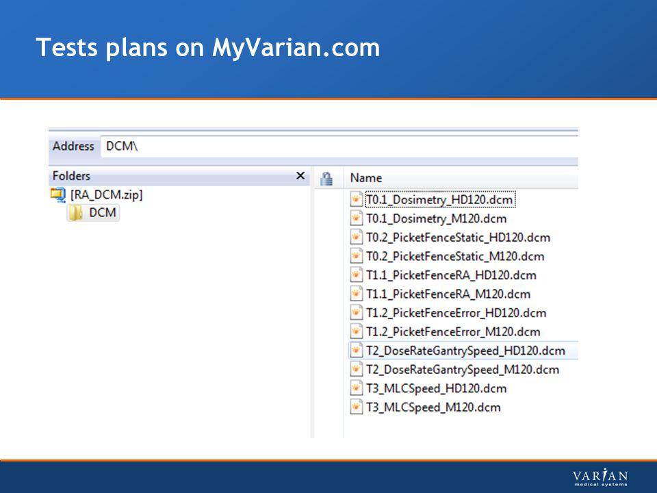 Tests plans on MyVarian.com