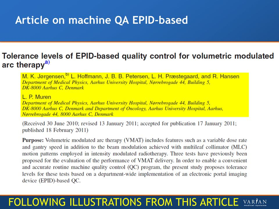 Article on machine QA EPID-based FOLLOWING ILLUSTRATIONS FROM THIS ARTICLE