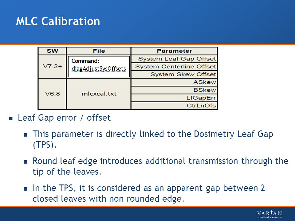 MLC Calibration Leaf Gap error / offset This parameter is directly linked to the Dosimetry Leaf Gap (TPS).