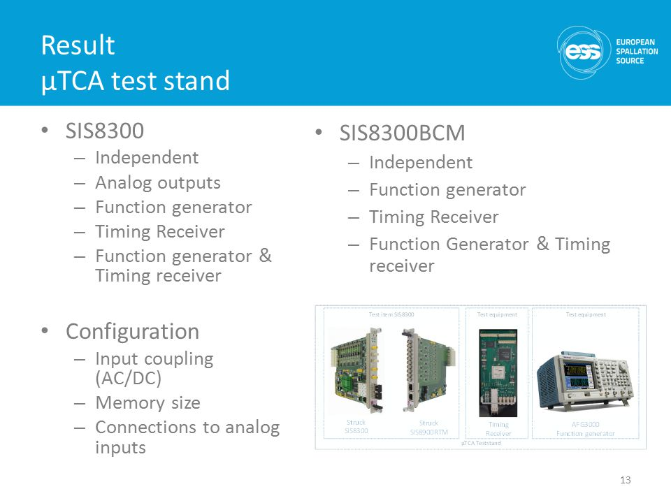 Result µTCA test stand SIS8300 – Independent – Analog outputs – Function generator – Timing Receiver – Function generator & Timing receiver Configuration – Input coupling (AC/DC) – Memory size – Connections to analog inputs 13 SIS8300BCM – Independent – Function generator – Timing Receiver – Function Generator & Timing receiver