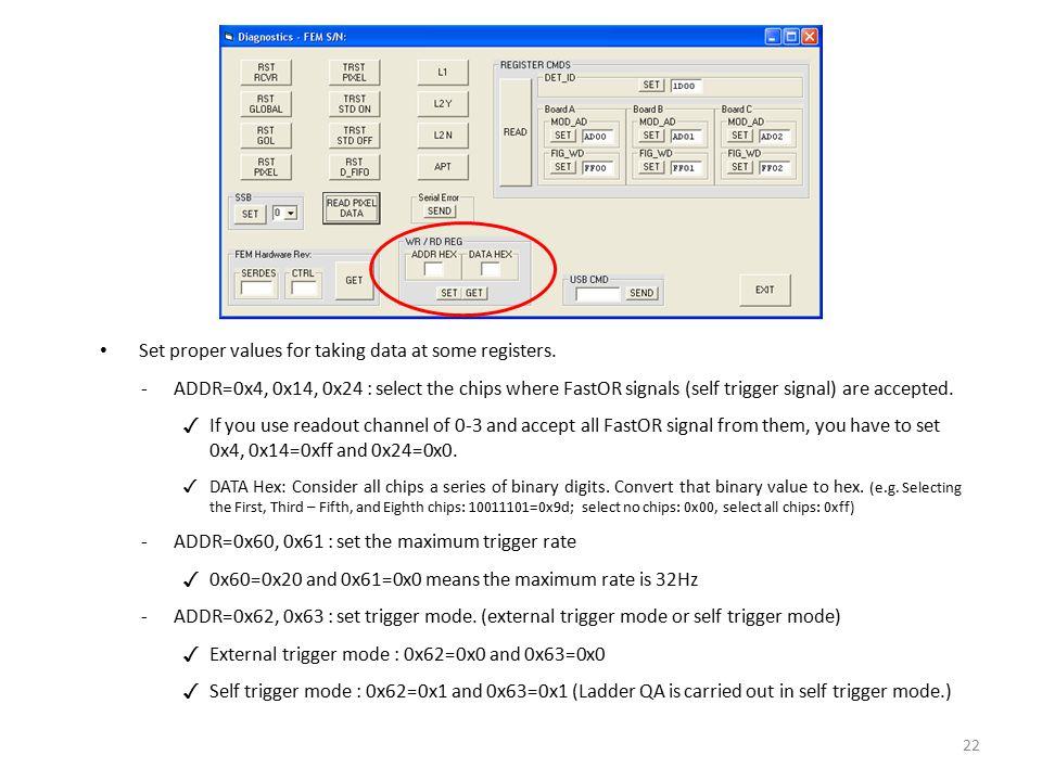 Set proper values for taking data at some registers.