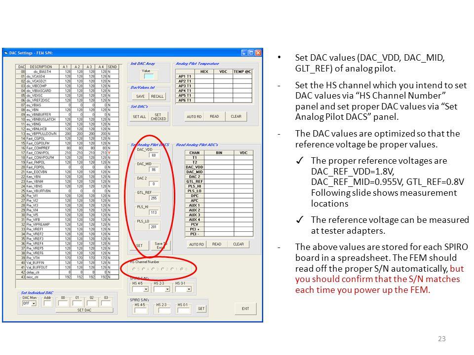 Set DAC values (DAC_VDD, DAC_MID, GLT_REF) of analog pilot.
