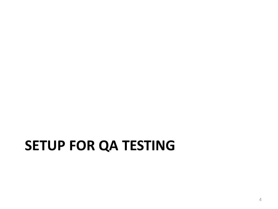 SETUP FOR QA TESTING 4