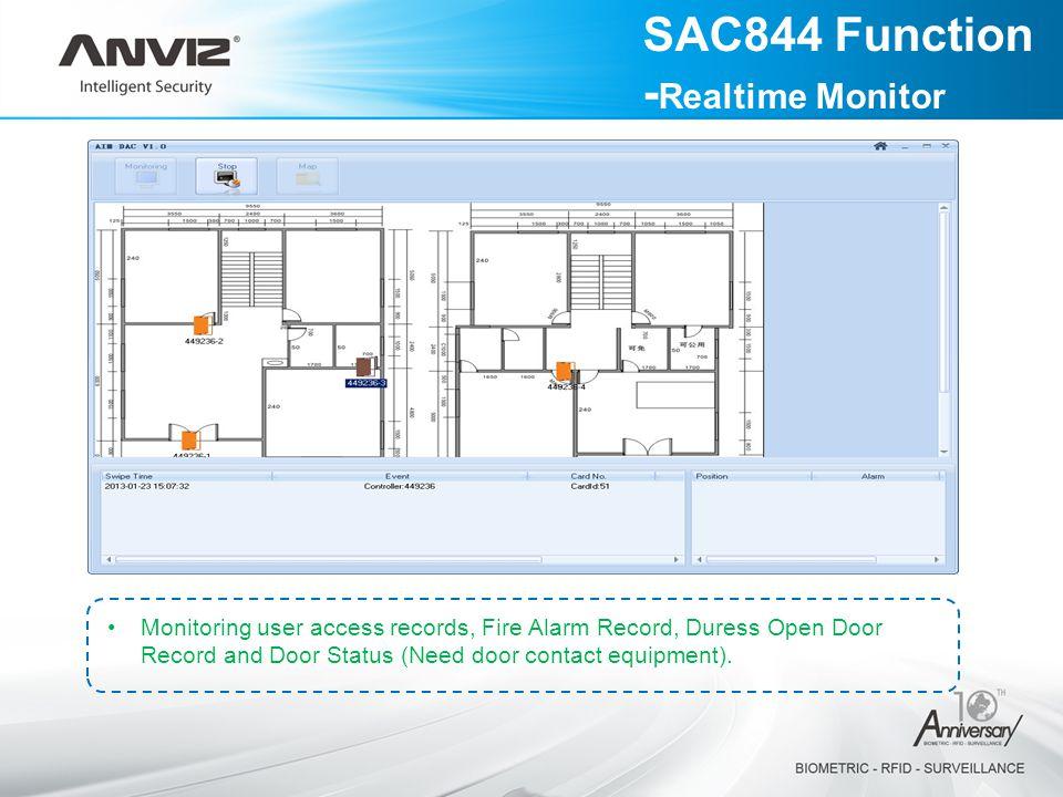 Monitoring user access records, Fire Alarm Record, Duress Open Door Record and Door Status (Need door contact equipment).