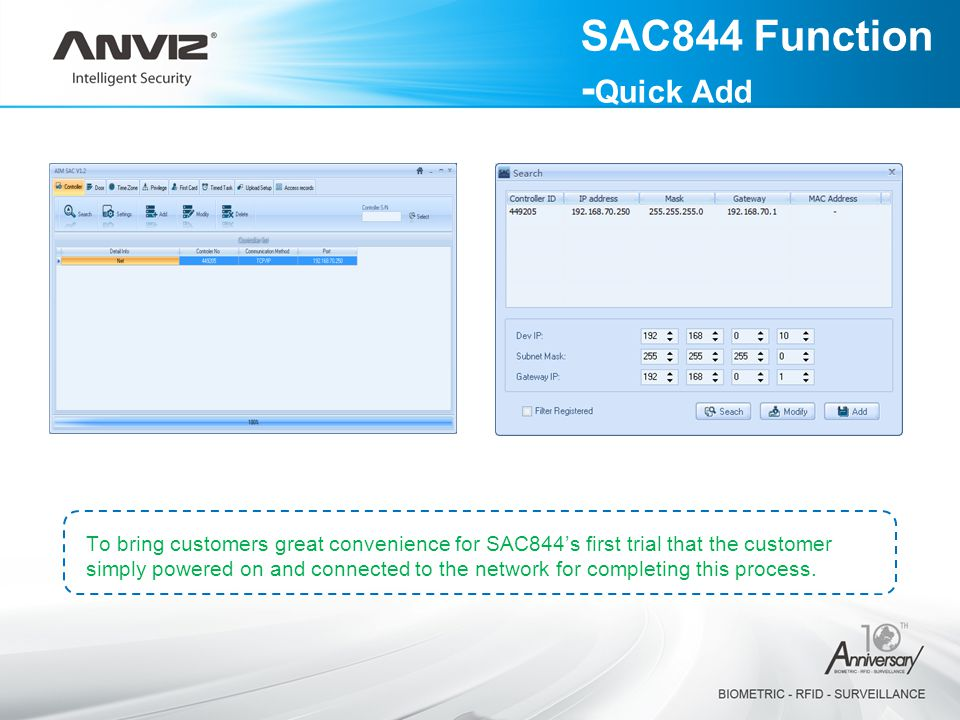 To bring customers great convenience for SAC844's first trial that the customer simply powered on and connected to the network for completing this process.