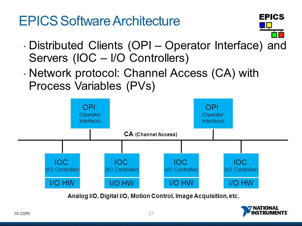 27 ni.com EPICS Software Architecture Distributed Clients (OPI – Operator Interface) and Servers (IOC – I/O Controllers) Network protocol: Channel Access (CA) with Process Variables (PVs) CA (Channel Access) Analog I/O, Digital I/O, Motion Control, Image Acquisition, etc.