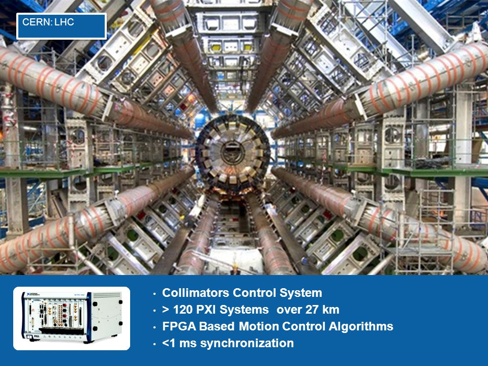 6 Collimators Control System > 120 PXI Systems over 27 km FPGA Based Motion Control Algorithms <1 ms synchronization CERN: LHC