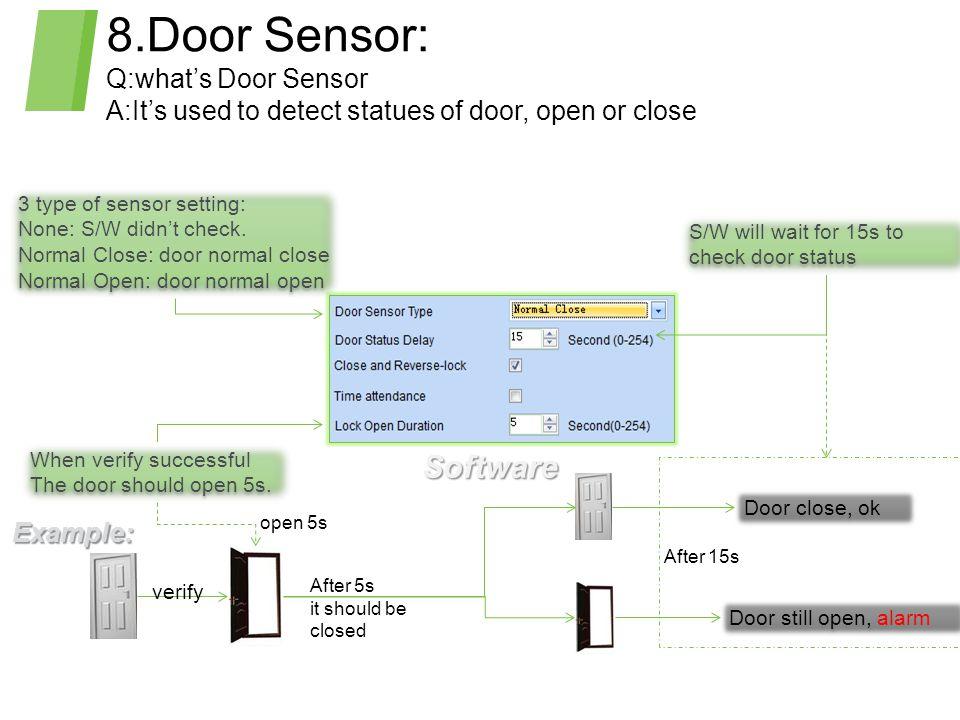 8.Door Sensor: Q:what's Door Sensor A:It's used to detect statues of door, open or close 3 type of sensor setting: None: S/W didn't check.