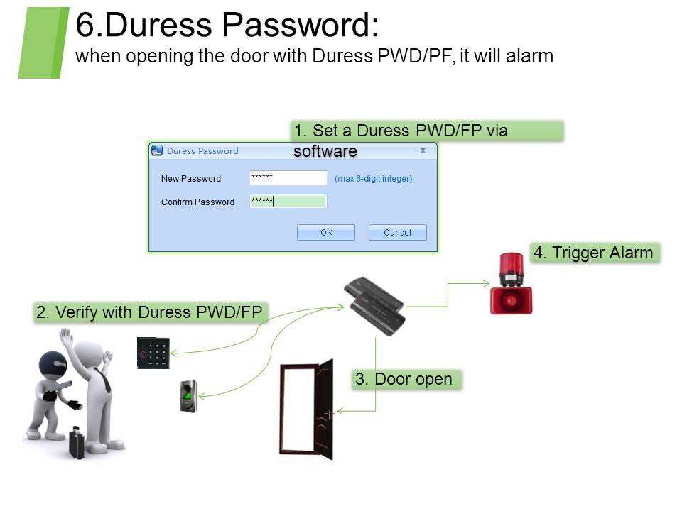 6.Duress Password: when opening the door with Duress PWD/PF, it will alarm 1.