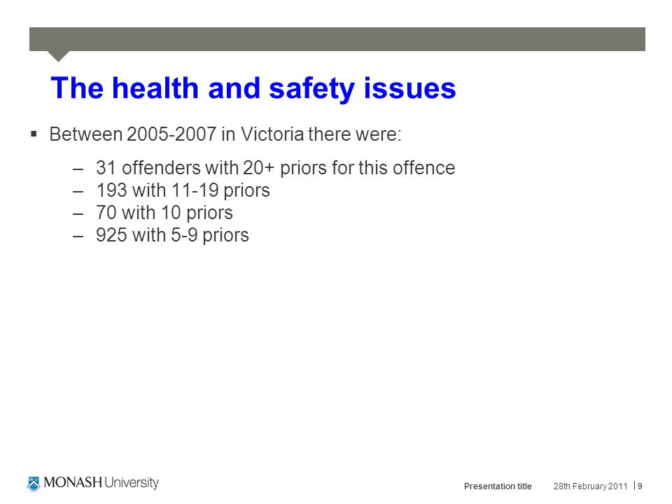 Health and safety issues  Police believe that of the top 500 worst drivers in Victoria only 15% hold a current licence.