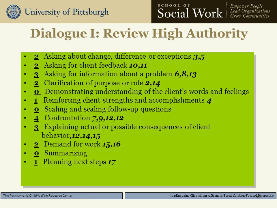 301:Engaging Clients from A Strength-Based, Solution-Focused Perspective The Pennsylvania Child Welfare Resource Center 26 Dialogue I: Review High Authority 2 Asking about change, difference or exceptions 3,5 2 Asking for client feedback 10,11 3 Asking for information about a problem 6,8,13 2 Clarification of purpose or role 2,14 0 Demonstrating understanding of the client's words and feelings 1 Reinforcing client strengths and accomplishments 4 0 Scaling and scaling follow-up questions 4 Confrontation 7,9,12,12 3 Explaining actual or possible consequences of client behavior,12,14,15 2 Demand for work 15,16 0 Summarizing 1 Planning next steps 17 2 Asking about change, difference or exceptions 3,5 2 Asking for client feedback 10,11 3 Asking for information about a problem 6,8,13 2 Clarification of purpose or role 2,14 0 Demonstrating understanding of the client's words and feelings 1 Reinforcing client strengths and accomplishments 4 0 Scaling and scaling follow-up questions 4 Confrontation 7,9,12,12 3 Explaining actual or possible consequences of client behavior,12,14,15 2 Demand for work 15,16 0 Summarizing 1 Planning next steps 17