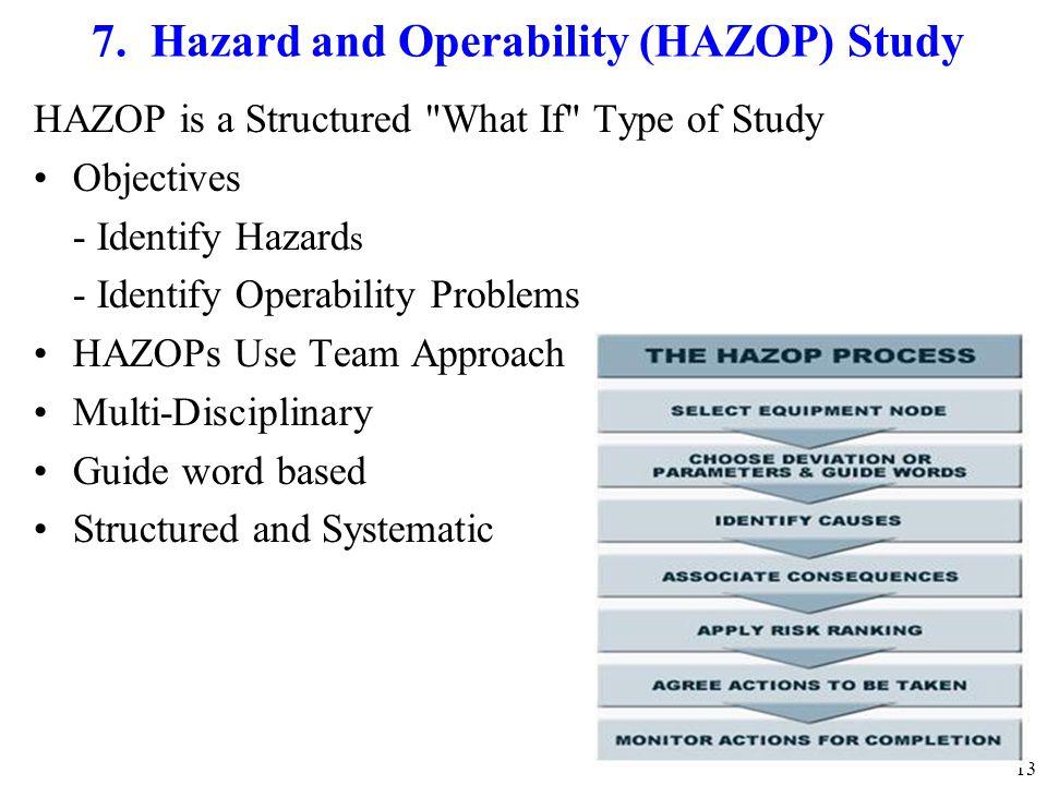 13 7. Hazard and Operability (HAZOP) Study HAZOP is a Structured