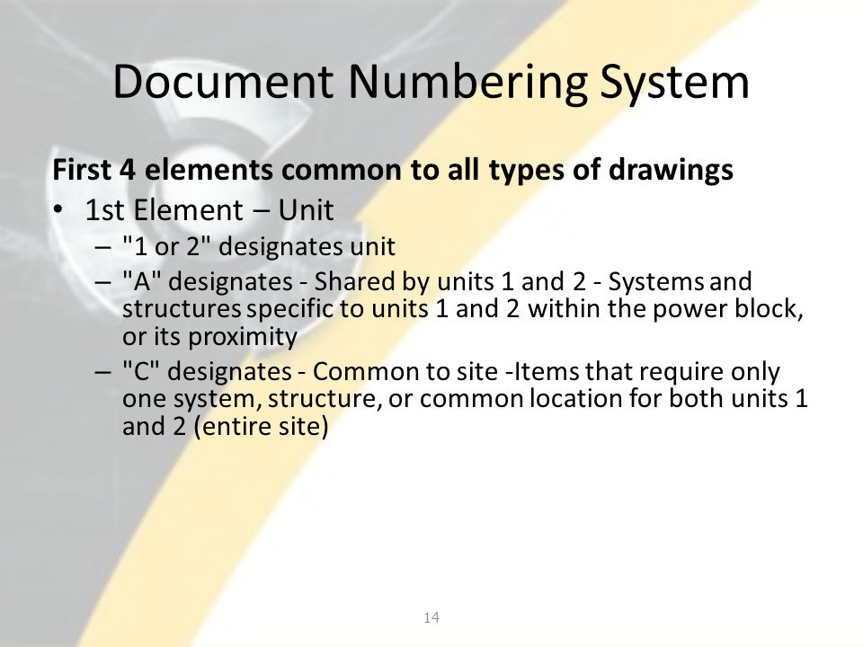 Document Numbering System First 4 elements common to all types of drawings 1st Element – Unit –