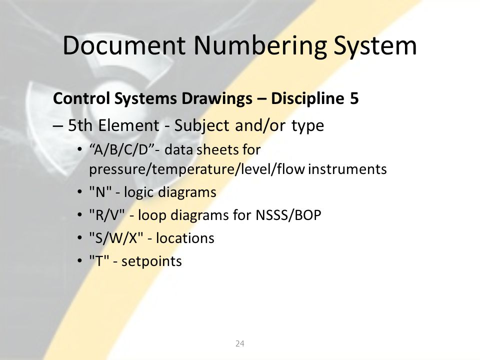 "Document Numbering System Control Systems Drawings – Discipline 5 – 5th Element - Subject and/or type ""A/B/C/D""- data sheets for pressure/temperature/"