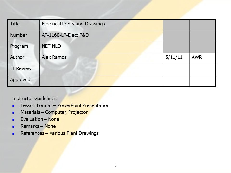 TitleElectrical Prints and Drawings NumberAT-1160-LP-Elect P&D ProgramNET NLO AuthorAlex Ramos5/11/11AWR IT Review Approved 3 Instructor Guidelines Le