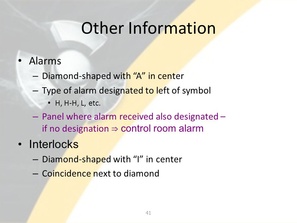 "Other Information Alarms – Diamond-shaped with ""A"" in center – Type of alarm designated to left of symbol H, H-H, L, etc. – Panel where alarm received"