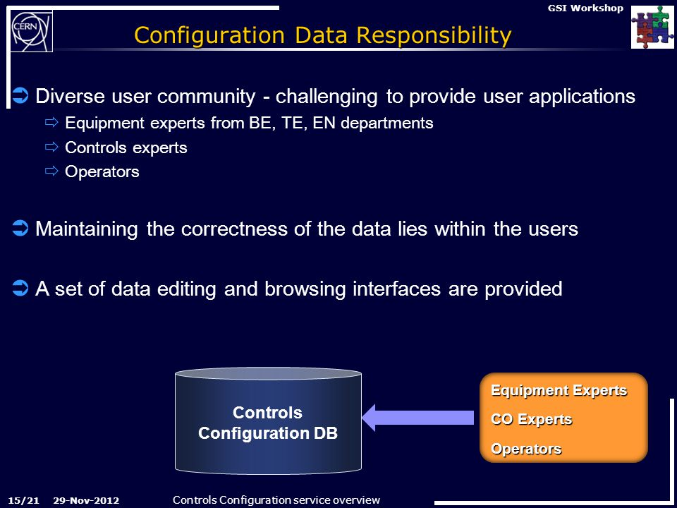 Controls Configuration service overview 29-Nov-2012 GSI Workshop Configuration Data Responsibility  Diverse user community - challenging to provide user applications  Equipment experts from BE, TE, EN departments  Controls experts  Operators  Maintaining the correctness of the data lies within the users  A set of data editing and browsing interfaces are provided Data Browsing Interfaces  Window-on-data  160 reports  Oracle APEX technology  300 users User Community Operators Controls Experts Accelerators Equipment Experts Controls Configuration Graphical User Interfaces Data Editing Interfaces  12 Data Editors  Oracle J2EE ADF technology  250 users  Strict authorization  Fine grain access control Equipment Experts CO Experts Operators Controls Configuration DB 15/21