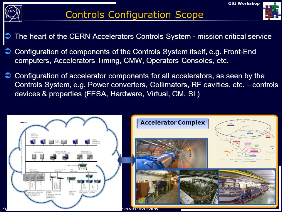 Controls Configuration service overview 29-Nov-2012 GSI Workshop Controls Configuration Scope  The heart of the CERN Accelerators Controls System - mission critical service  Configuration of components of the Controls System itself, e.g.