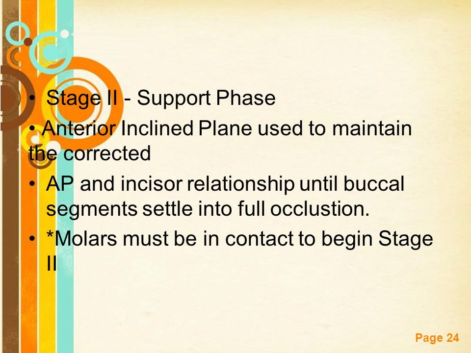 Free Powerpoint Templates Page 24 Stage II - Support Phase Anterior Inclined Plane used to maintain the corrected AP and incisor relationship until bu