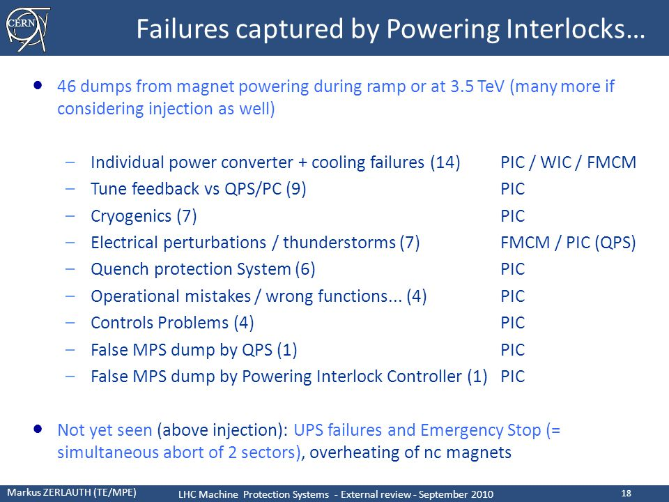 CERN Markus ZERLAUTH (TE/MPE) LHC Machine Protection Systems - External review - September 2010 18 Failures captured by Powering Interlocks… ● 46 dumps from magnet powering during ramp or at 3.5 TeV (many more if considering injection as well) –Individual power converter + cooling failures (14)PIC / WIC / FMCM –Tune feedback vs QPS/PC (9)PIC –Cryogenics (7)PIC –Electrical perturbations / thunderstorms (7)FMCM / PIC (QPS) –Quench protection System (6)PIC –Operational mistakes / wrong functions...