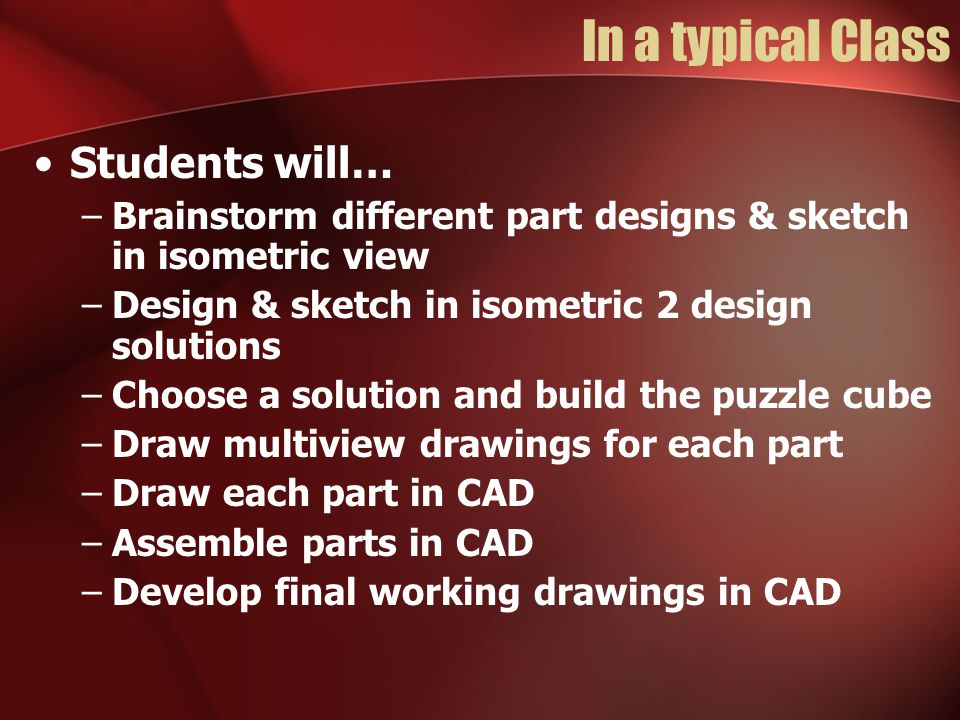 In a typical Class Students will… –Brainstorm different part designs & sketch in isometric view –Design & sketch in isometric 2 design solutions –Choose a solution and build the puzzle cube –Draw multiview drawings for each part –Draw each part in CAD –Assemble parts in CAD –Develop final working drawings in CAD