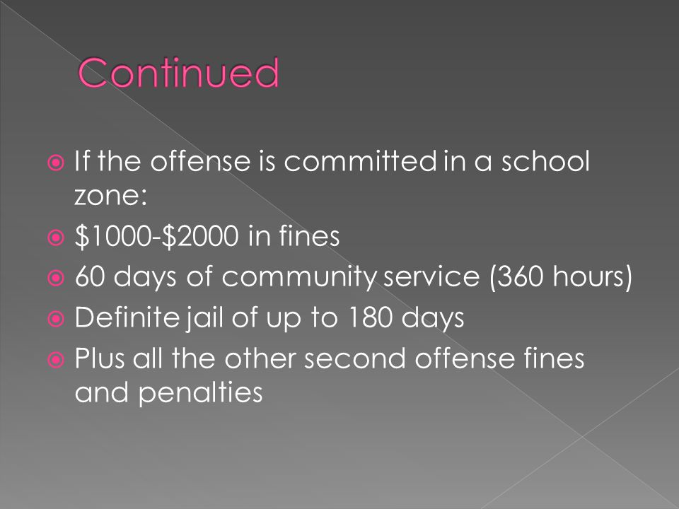  If the offense is committed in a school zone:  $1000-$2000 in fines  60 days of community service (360 hours)  Definite jail of up to 180 days  Plus all the other second offense fines and penalties
