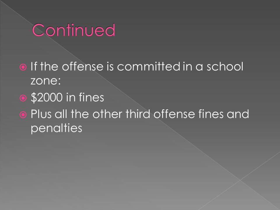  If the offense is committed in a school zone:  $2000 in fines  Plus all the other third offense fines and penalties