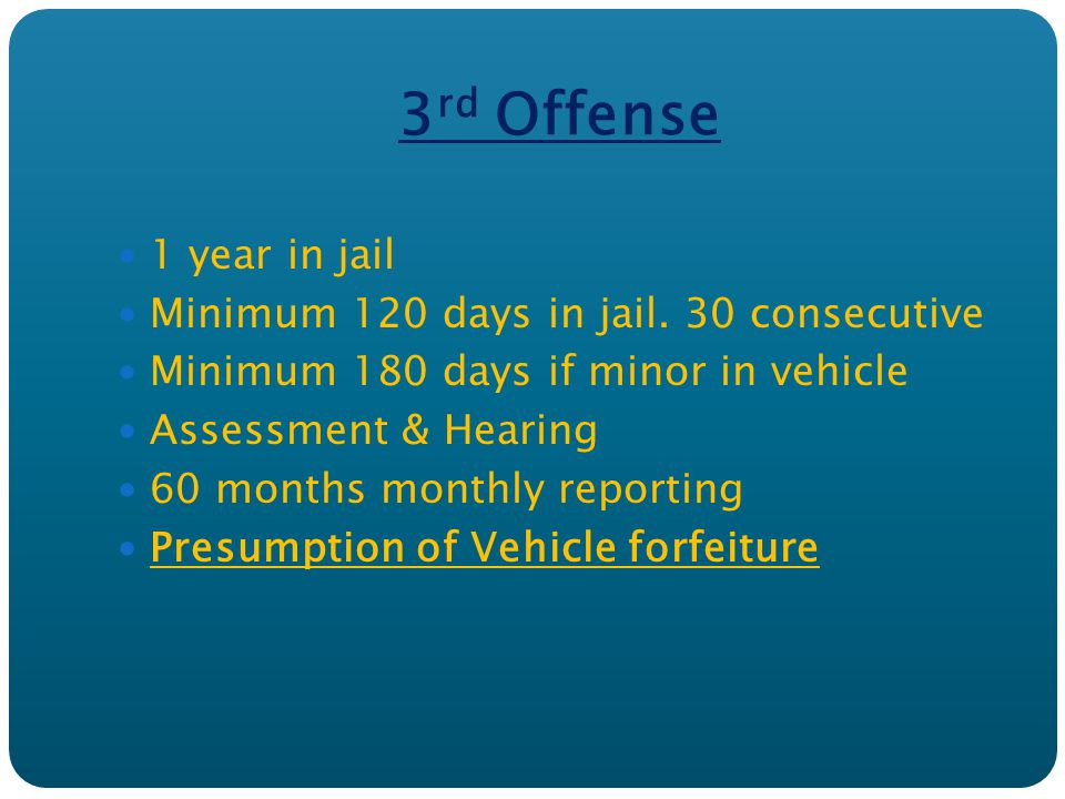3 rd Offense 1 year in jail Minimum 120 days in jail. 30 consecutive Minimum 180 days if minor in vehicle Assessment & Hearing 60 months monthly repor