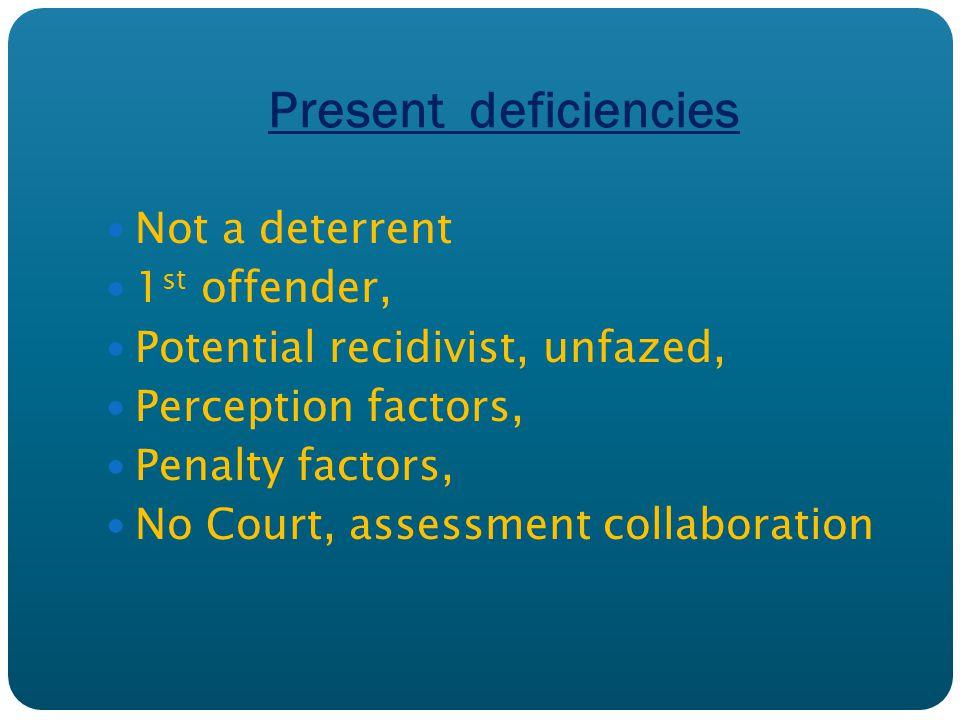 Present deficiencies Not a deterrent 1 st offender, Potential recidivist, unfazed, Perception factors, Penalty factors, No Court, assessment collaboration